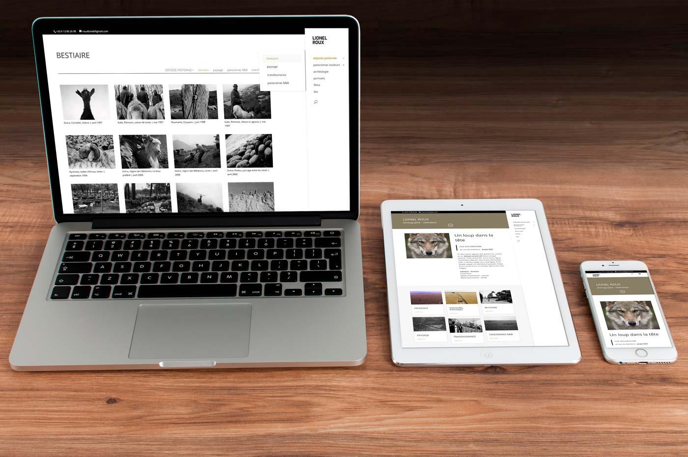 Site internet Lionel Roux en versions ordinateur, tablette et smartphone
